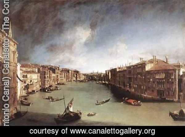 (Giovanni Antonio Canal) Canaletto - Grand Canal, Looking Northeast from Palazo Balbi toward the Rialto Bridge