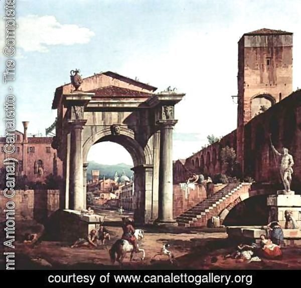 (Giovanni Antonio Canal) Canaletto - Capriccio Romano,  city gate tower