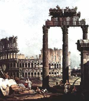 (Giovanni Antonio Canal) Canaletto - Capriccio Romano, Colosseum ruins and Vespasian Temple