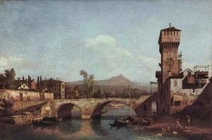 (Giovanni Antonio Canal) Canaletto - Capriccio Veneto, river, bridge and medieval town gate