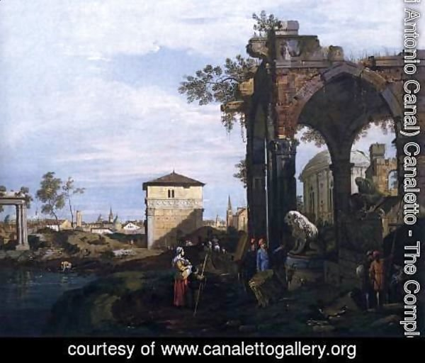 (Giovanni Antonio Canal) Canaletto - Capriccio with Ruins and Porta Portello, Padua