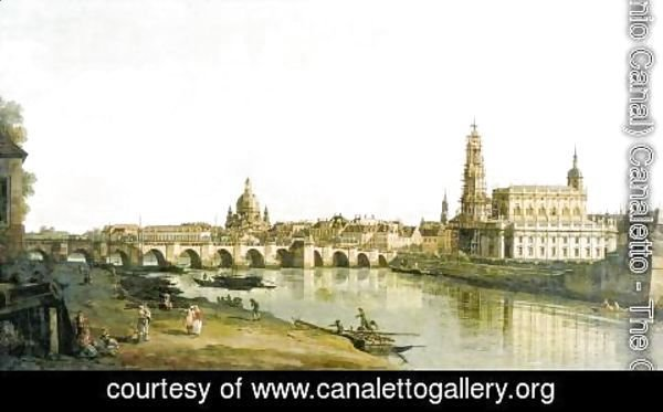 (Giovanni Antonio Canal) Canaletto - Dresden from the right bank of the Elbe below the Augustus Bridge