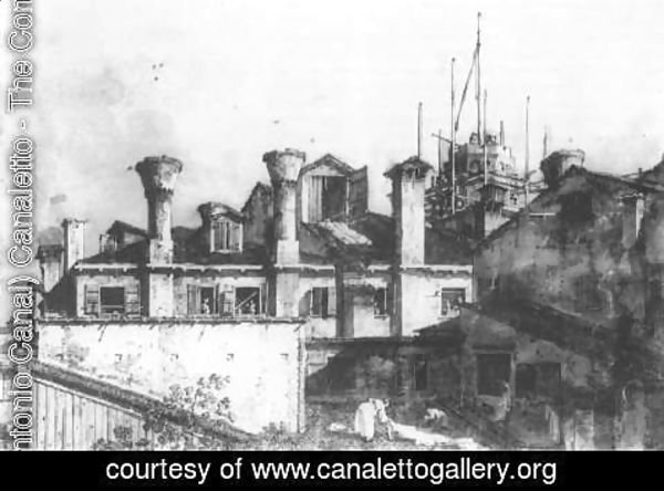 (Giovanni Antonio Canal) Canaletto - Roofs and Chimneys in Venice