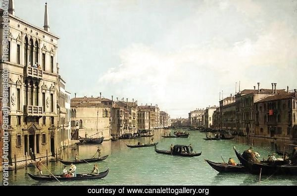 Venice, The Grand Canal, Looking North-East from Palazzo Balbi to the Rialto Bridge