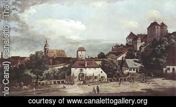 (Giovanni Antonio Canal) Canaletto - View from Pirna, from the south side of view, with fortifications and Upper (gate), and Fortress Sonnenstein