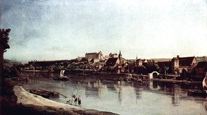 (Giovanni Antonio Canal) Canaletto - View from Pirna, Pirna of Kopitz, with Fortress Sonnenstein