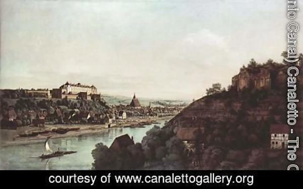 (Giovanni Antonio Canal) Canaletto - View from Pirna, Pirna of the vineyards at Posta, with Fortress Sonnenstein
