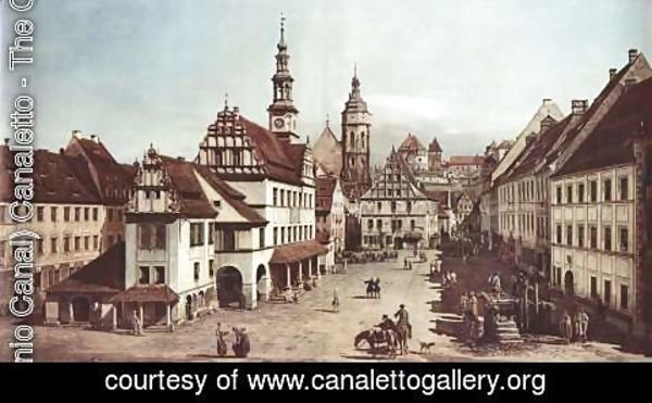 (Giovanni Antonio Canal) Canaletto - View from Pirna, the market square in Pirna