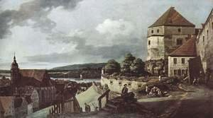 (Giovanni Antonio Canal) Canaletto - View from Pirna, the sun-stone fortress view