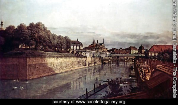 View of Dresden, the ancient moat of the kennel, the Orangerie