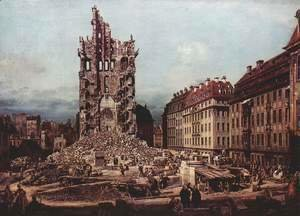 (Giovanni Antonio Canal) Canaletto - View of Dresden, the ruins of the Cross Church, seen from the east
