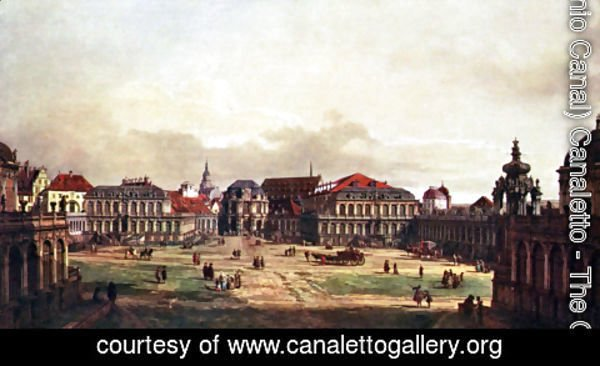 (Giovanni Antonio Canal) Canaletto - View of Dresden, Zwingerhof in Dresden, from the fortress
