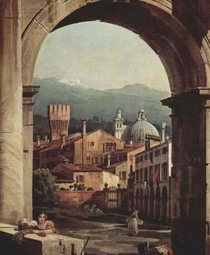 (Giovanni Antonio Canal) Canaletto - Capriccio Romano,  city gate tower, detail