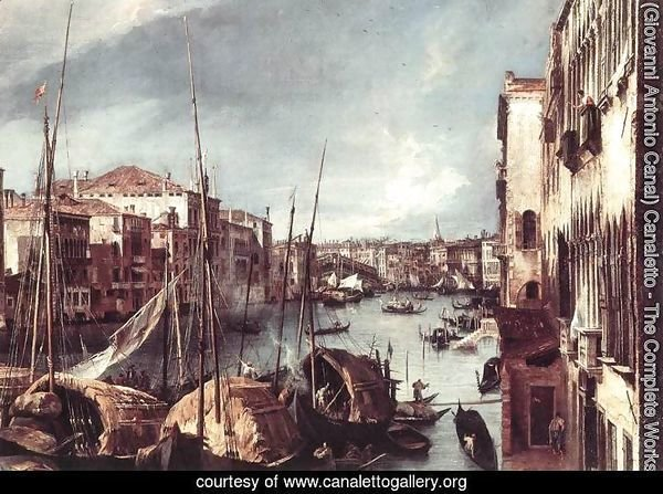The Grand Canal with the Rialto Bridge in the Background (detail)