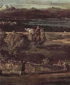(Giovanni Antonio Canal) Canaletto - The village Gazzada viewed from southeast to the Villa Melzi d'Eril, detail (2)