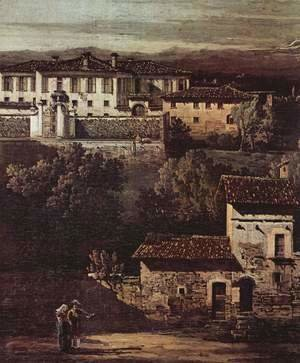(Giovanni Antonio Canal) Canaletto - The village Gazzada viewed from southeast to the Villa Melzi d'Eril, detail