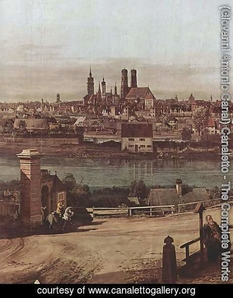 (Giovanni Antonio Canal) Canaletto - View from Munich, The Bridge and the Isar, Detail