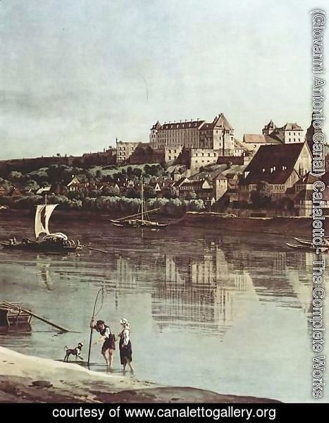 (Giovanni Antonio Canal) Canaletto - View from Pirna, Pirna of Kopitz, with Fortress Sonnenstein, detail