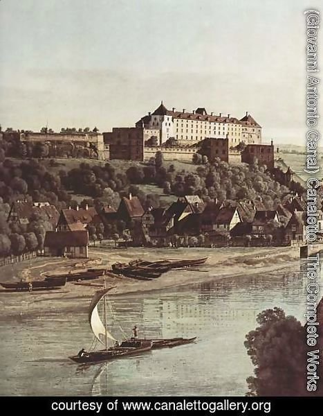 (Giovanni Antonio Canal) Canaletto - View from Pirna, Pirna vineyards at Prosta, with Fortress Sonnenstein, detail