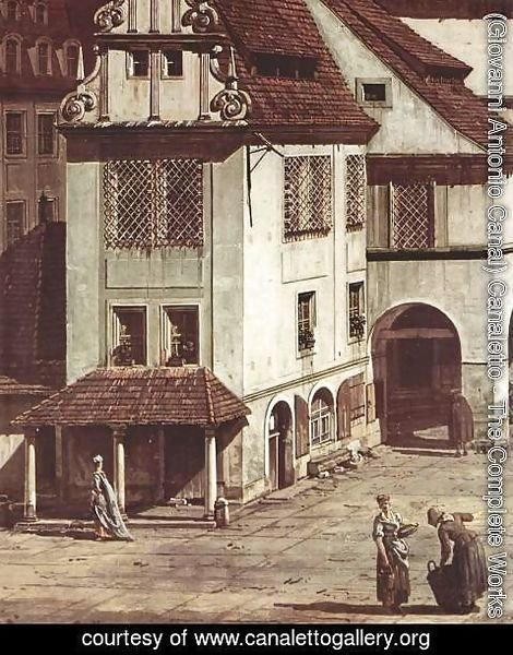 (Giovanni Antonio Canal) Canaletto - View from Pirna, the market square in Pirna, detail