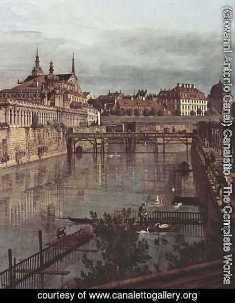 (Giovanni Antonio Canal) Canaletto - View of Dresden, the ancient moat of the kennel, the Orangerie, detail