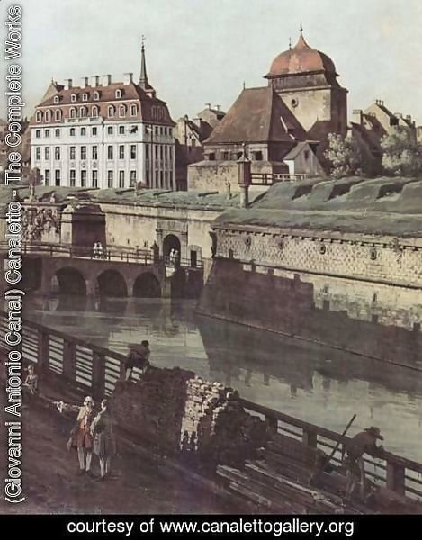 (Giovanni Antonio Canal) Canaletto - View of Dresden, the fortress plants in Dresden, fortified with trenches bridge between Wilschen gate pillar and pos