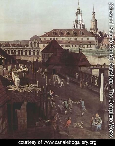 (Giovanni Antonio Canal) Canaletto - View of Dresden, the fortress plants in Dresden, fortified with trenches bridge between Wilschen gate pillar and pos 2