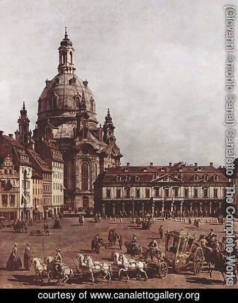 (Giovanni Antonio Canal) Canaletto - View of Dresden, the Neumarkt in Dresden, Jewish cemetery, with women's Church and the Old Town Watch, detail 2