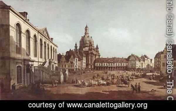 (Giovanni Antonio Canal) Canaletto - View of Dresden, the Neumarkt in Dresden, Jewish cemetery, with women's Church and the Old Town Watch, detail