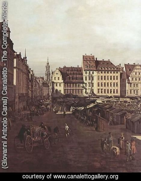 (Giovanni Antonio Canal) Canaletto - View of Dresden, The Old Market Square from the Seegasse, detail