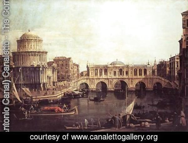 (Giovanni Antonio Canal) Canaletto - Capriccio The Grand Canal, with an Imaginary Rialto Bridge and Other Buildings