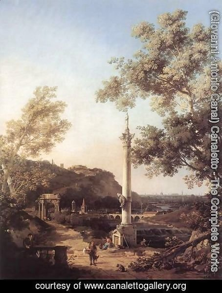 (Giovanni Antonio Canal) Canaletto - Capriccio River Landscape with a Column