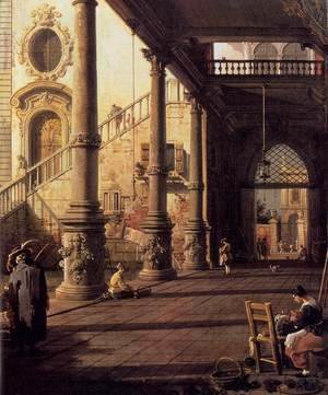 (Giovanni Antonio Canal) Canaletto - Perspective View with Portico (detail)