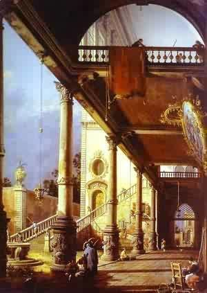 (Giovanni Antonio Canal) Canaletto - Capriccio Ofolonade And The Courtyard Of A Palace 1765