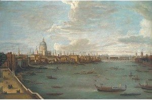 (Giovanni Antonio Canal) Canaletto - Vessels on the Thames