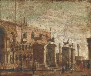 (Giovanni Antonio Canal) Canaletto - A capriccio of the Horses of San Marco set on pillars in the Piazzetta