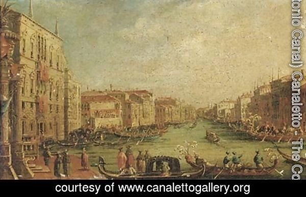 Ascension Day The Regatta on the Grand Canal, Venice, with the Palazzo Balbi on the left