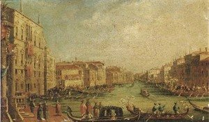 (Giovanni Antonio Canal) Canaletto - Ascension Day The Regatta on the Grand Canal, Venice, with the Palazzo Balbi on the left