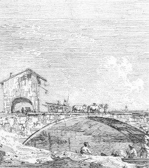 (Giovanni Antonio Canal) Canaletto - The wagon passing over a bridge