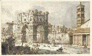 (Giovanni Antonio Canal) Canaletto - The Arch of Janus, Rome, with the church of San Giorgio in Velabro beyond