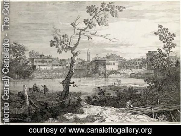 (Giovanni Antonio Canal) Canaletto - View of a Town on a River Bank