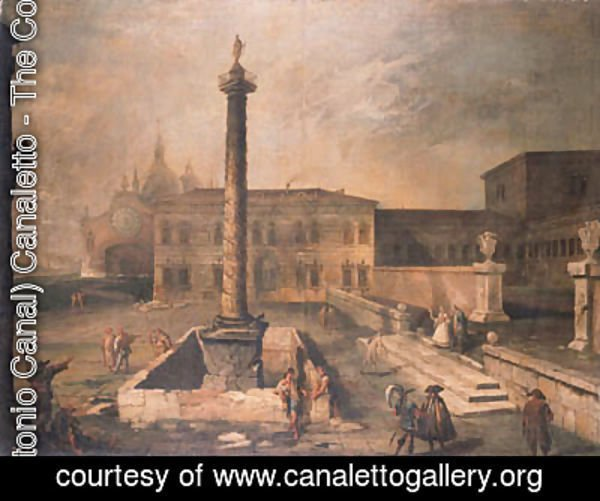 (Giovanni Antonio Canal) Canaletto - A capriccio of a piazza in front of a palace with the Column of Marcus Aurelius, pilgrims and townsfolk, a domed church beyond
