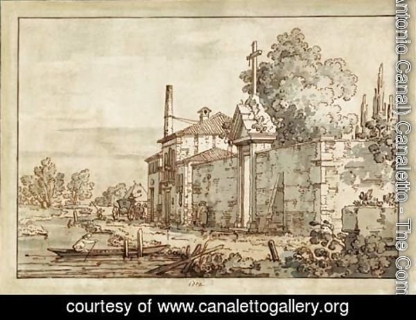 (Giovanni Antonio Canal) Canaletto - A convent by a river in the Veneto