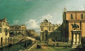 (Giovanni Antonio Canal) Canaletto - The Campo Santi Giovanni e Paolo, Venice, with the West End of the Church and the Scuola di San Marco