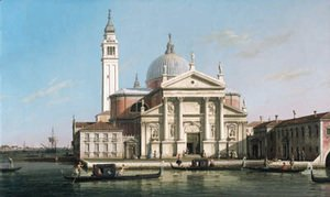 The Church of S. Giorgio Maggiore, Venice, with sandalos and gondolas
