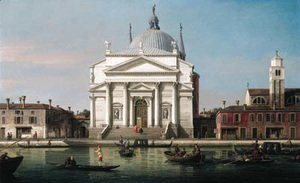 The Church of the Redentore, Venice, with sandalos and gondolas