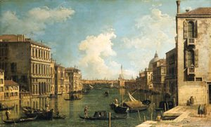 (Giovanni Antonio Canal) Canaletto - The Grand Canal, Venice, looking east from the Campo di San Vio, with the Palazzo Corner, barges and gondolas, the dome of Santa Maria della Salute