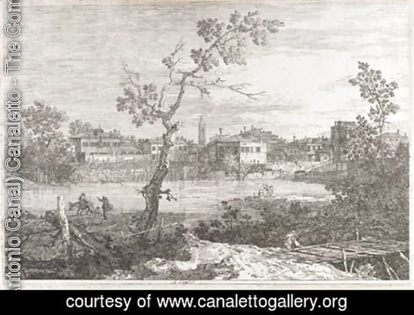 (Giovanni Antonio Canal) Canaletto - View of a Town on a River Bank 2
