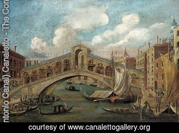 (Giovanni Antonio Canal) Canaletto - The Rialto Bridge; and The Doge's Palace, Venice