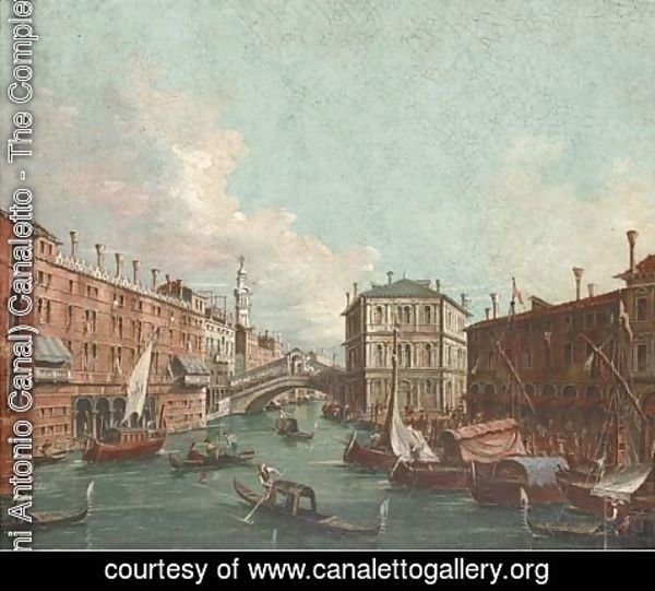 (Giovanni Antonio Canal) Canaletto - Vessels before the Rialto Bridge, Venice